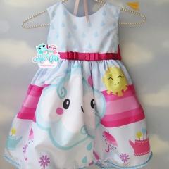 Vestido Infantil de Festa Chuva de Benção na cor Azul bebê